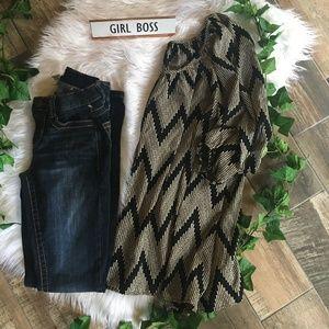 Size Small Black & Beige Women's Blouse